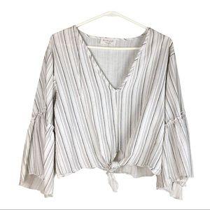 Lavender field tie front linen blouse size L